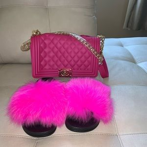 Shoes - New fur slides and new New jelly bag set.